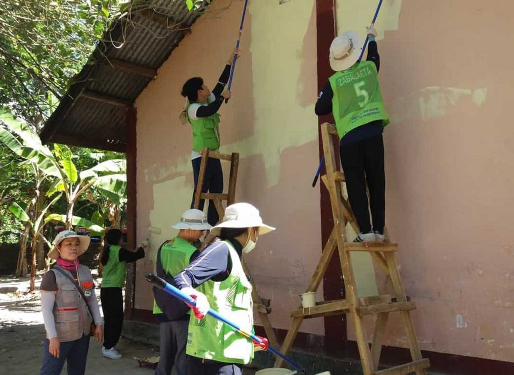 painting the school's wall